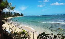 Steps to the white tropical beach